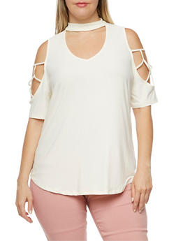 Plus Size Cold Shoulder Top with Caging on Sleeves - CREME - 3912001443660