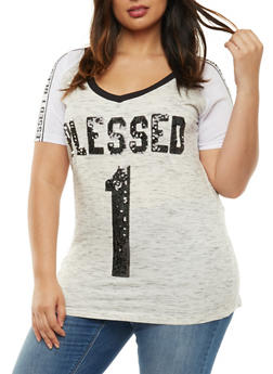 Plus Size Sequined Blessed 1 Graphic Top - 3912033870075