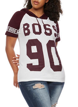 Plus Size Boss 90 Graphic Top with Hood - 3912033870095