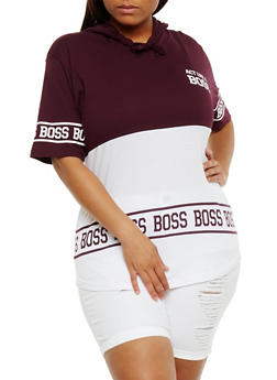 Plus Size Act Like a Boss Graphic Hoodie - 3912033870646