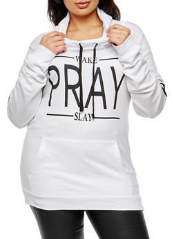 Plus Size Wake Pray Slay Graphic Sweatshirt - 3912033870869