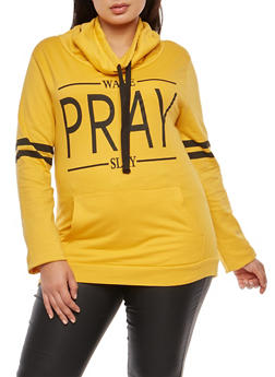 Plus Size Wake Pray Slay Graphic Sweatshirt - 3912033870869