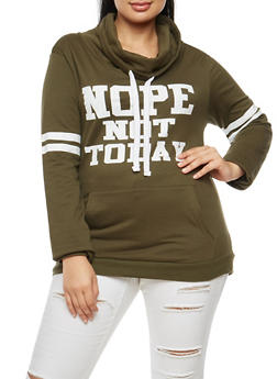 Plus Size Nope Not Today Graphic Sweatshirt - 3912033871286