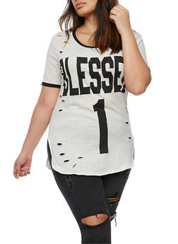Plus Size Blessed 1 Graphic Lasercut Ringer Top - 3912033871375