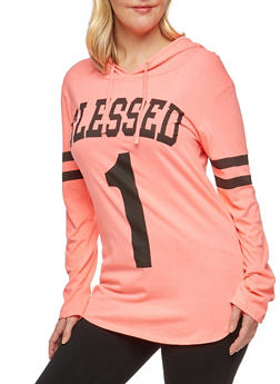Plus Size Blessed Graphic Hooded Top - 3912033871378