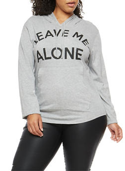Plus Size Leave Me Alone Graphic Sweatshirt - 3912033872109