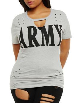 Plus Size Army Graphic Lasercut Top - 3912033872615