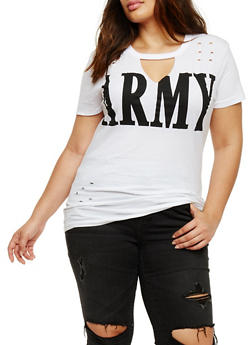 Plus Size Army Graphic Lasercut Top - 3912033872615