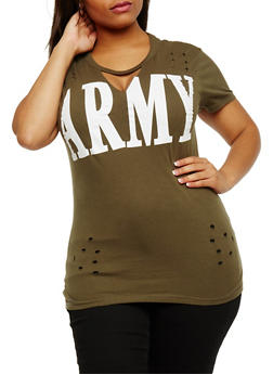 Plus Size Army Graphic Lasercut Top - OLIVE - 3912033872615