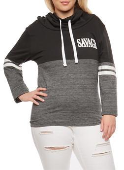 Plus Size Savage Graphic Color Block Sweatshirt - 3912033872770