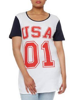 Plus Size Raglan Short Sleeve Top with USA 01 Print - 3912033873625