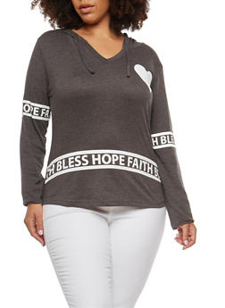 Plus Size Graphic Hooded Top - 3912033873727
