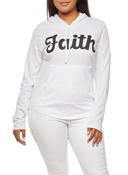 Plus Size Faith Graphic Hooded Top - WHITE - 3912033874796