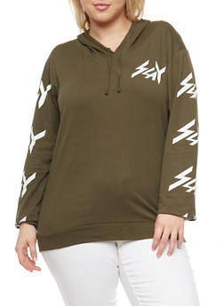 Plus Size Slay Graphic Hooded Top - 3912033874937