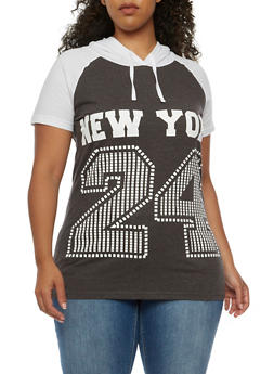 Plus Size New York 24 Graphic Hooded Top - 3912033875055