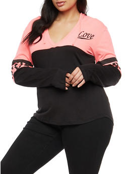 Plus Size Color Block Graphic Hoodie - 3912033875061