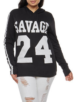 Plus Size Savage Graphic Hooded Top - BLACK - 3912033875327