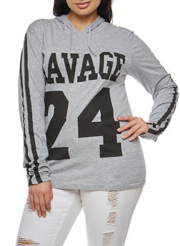 Plus Size Savage Graphic Hooded Top - 3912033875327