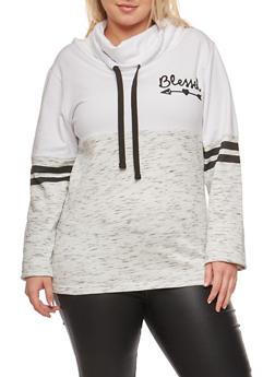 Plus Size Color Block Graphic Cowl Neck Sweatshirt - 3912033876975