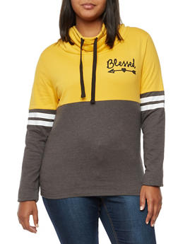 Plus Size Color Block Graphic Cowl Neck Sweatshirt - 3912033876975