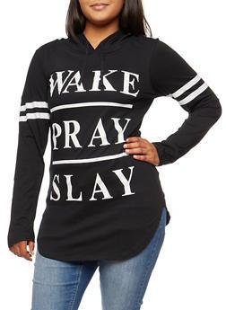 Plus Size Wake Pray Slay Graphic Hoodie - BLACK - 3912033878005