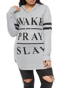 Plus Size Wake Pray Slay Graphic Hoodie - 3912033878005