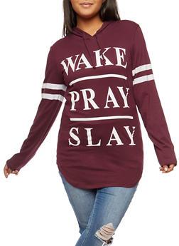 Plus Size Wake Pray Slay Graphic Hoodie - 3912033878005