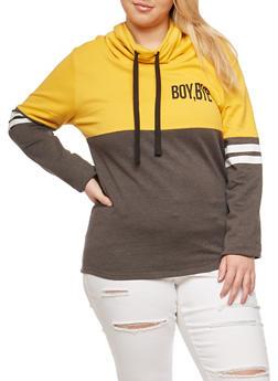 Plus Size Boy Bye Graphic Color Block Sweatshirt - 3912033878229