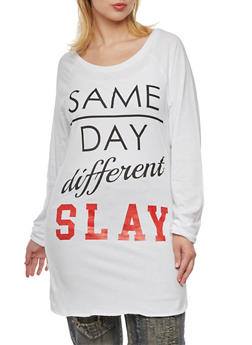 Plus Size Raglan Top with Same Day Different Slay Print - 3912033878815