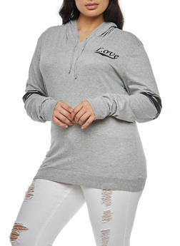 Plus Size Love Graphic Hooded Top - 3912033879125