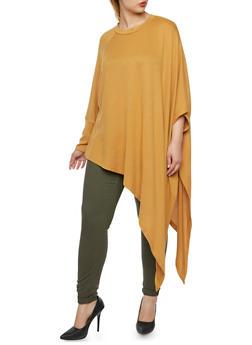 Plus Size Dolman Sleeve Sweater with Asymmetrical Hem - 3912038341201
