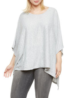 Plus Size Knit Poncho Top - 3912038341203