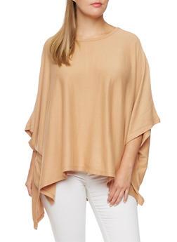 Plus Size Knit Poncho Top - 3912038341203