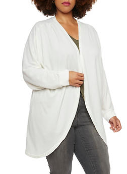 Plus Size Open Cardigan with Batwing Sleeves - IVORY - 3912038341204