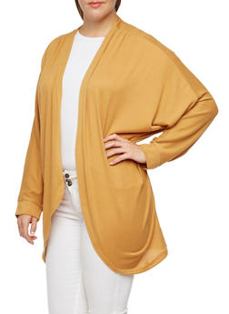 Plus Size Open Cardigan with Batwing Sleeves - 3912038341204