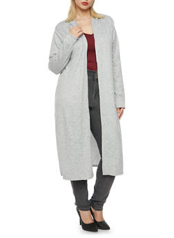 Plus Size Hooded Duster - 3912038341205
