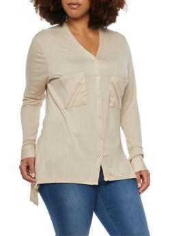 Plus Size Button Up Shirt with High Low Hem - 3912038341231