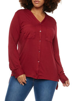 Plus Size Button Up Shirt with High Low Hem - WINE - 3912038341231