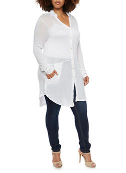 Plus Size Button Tunic Top in Stretch Knit - 3912038341232
