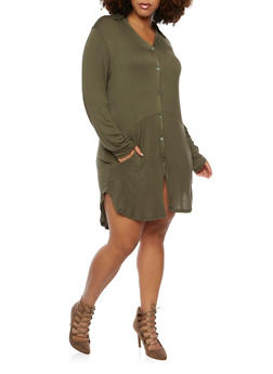 Plus Size Button Tunic Top in Stretch Knit - GREEN - 3912038341232