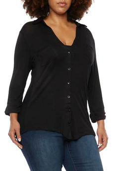 Plus Size Button Up Shirt with Ribbed Trim - 3912038341233