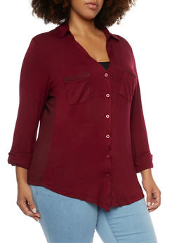 Plus Size Button Up Shirt with Ribbed Trim - WINE - 3912038341233