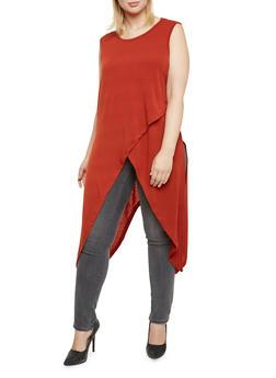 Plus Size Sleeveless Tunic Top with Tulip Paneling - 3912038341252