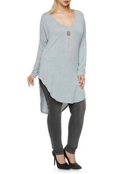 Plus Size Tunic Top with Removable Necklace - 3912038341253