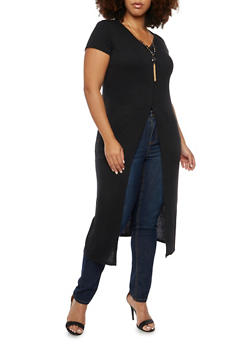 Plus Size Duster Top with Removable Necklace - 3912038341255