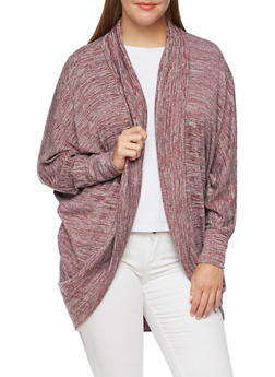 Plus Size Marled Cardigan with Batwing Sleeves - 3912038341303