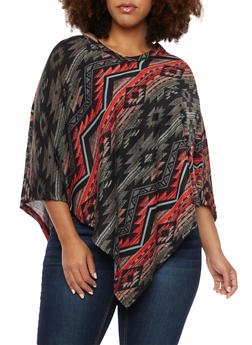 Plus Size Knit Poncho in Aztec Print - 3912038341321