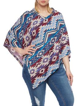 Plus Size Aztec Print Knit Poncho - 3912038341321