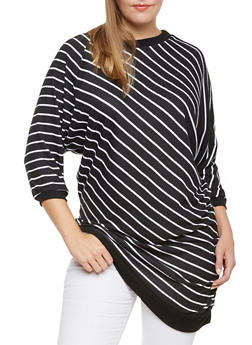 Plus Size Striped Tunic Top with Batwing Sleeves - 3912038341323