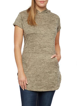 Plus Size Hooded Tunic Top in Marled Knit - 3912038341499